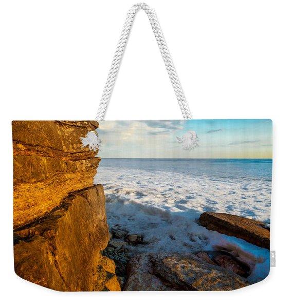 Winter Beach Sunset Weekender Tote Bag