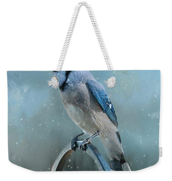 Winter Blue Jay Square Weekender Tote Bag