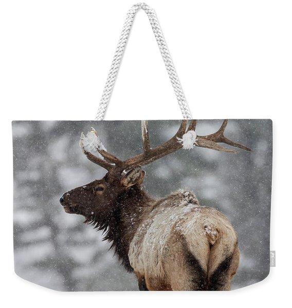 Winter Bull Elk Weekender Tote Bag