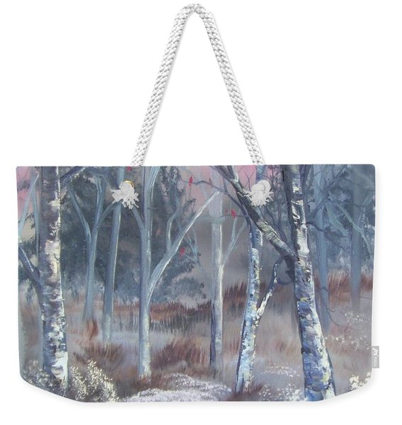 Weekender Tote Bag featuring the painting Winter Cardinals by Deleas Kilgore