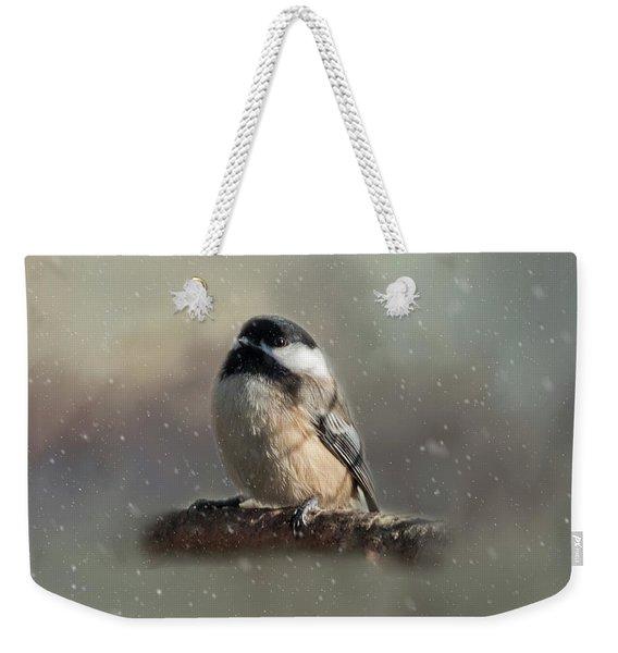 Winter Chicadee Weekender Tote Bag