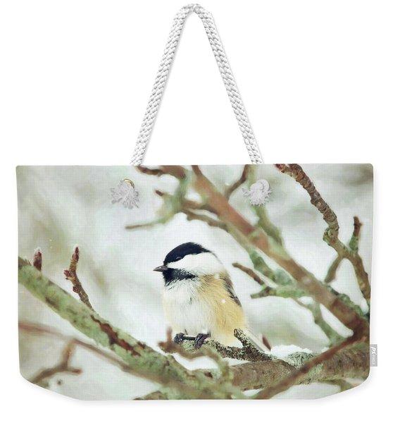 Winter Chickadee Weekender Tote Bag