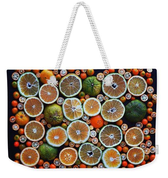 Winter Citrus Mosaic Weekender Tote Bag