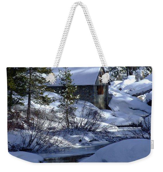 Winter Cottage Weekender Tote Bag