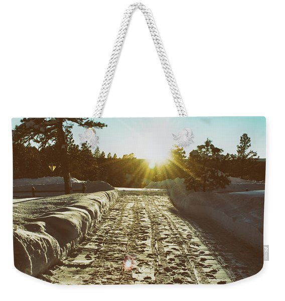 Weekender Tote Bag featuring the photograph Winter Driveway Sunset by Jason Coward