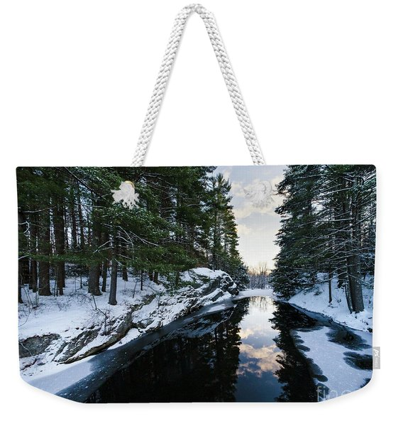 Weekender Tote Bag featuring the photograph Winter, Durham, Maine #10542 by John Bald