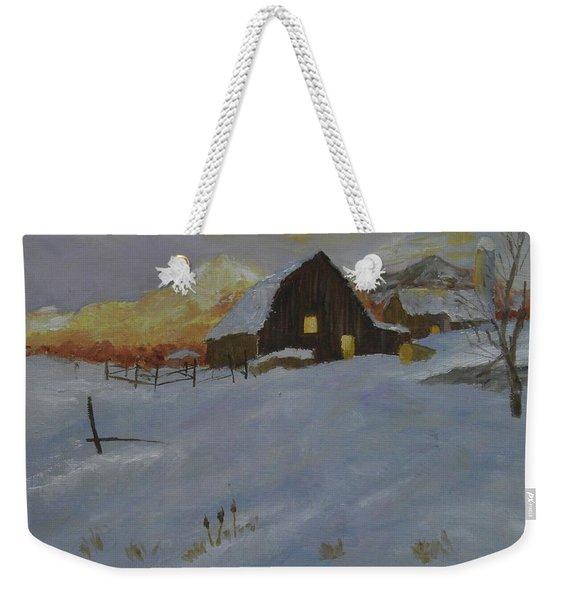 Winter Dusk On The Farm Weekender Tote Bag