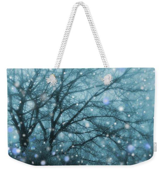 Winter Evening Snowfall Weekender Tote Bag