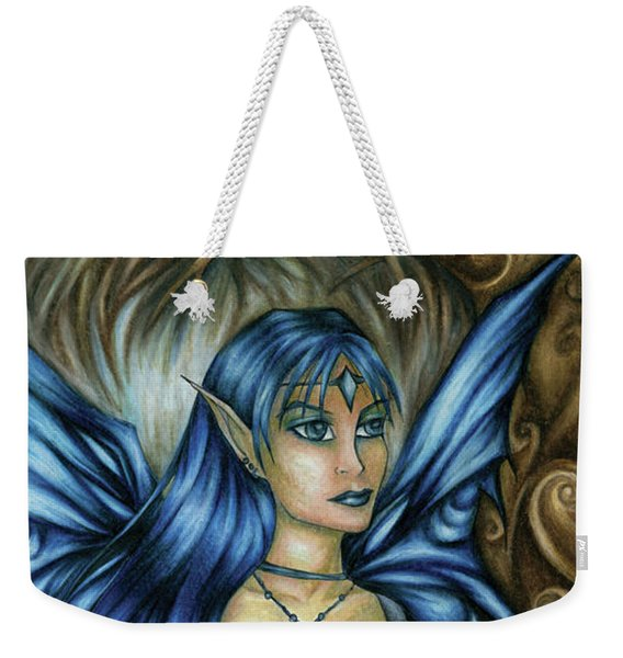 Weekender Tote Bag featuring the drawing Winter Fairy Drawing by Kristin Aquariann