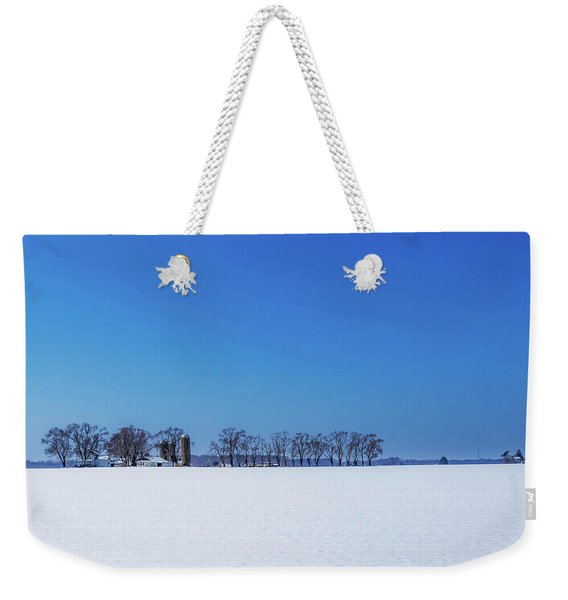 Winter Farm Blue Sky Weekender Tote Bag