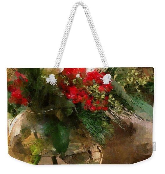 Winter Flowers In Glass Vase Weekender Tote Bag