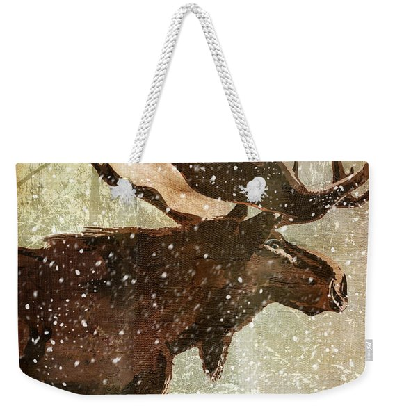Winter Game Moose Weekender Tote Bag