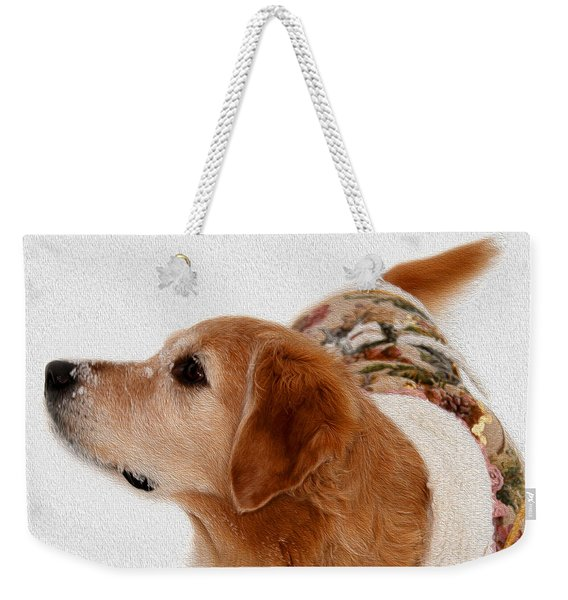 Winter Girl Painted Portrait Weekender Tote Bag
