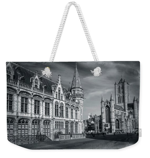Winter In Ghent Belgium Black And White  Weekender Tote Bag