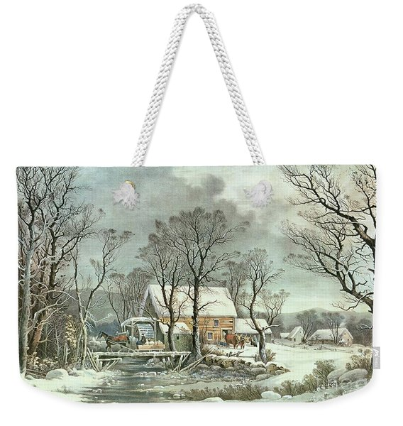 Winter In The Country - The Old Grist Mill Weekender Tote Bag