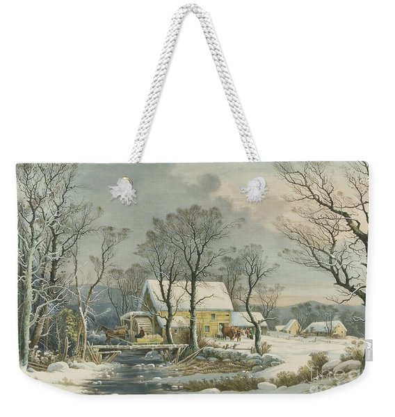 Winter In The Country, The Old Grist Mill, 1864  Weekender Tote Bag