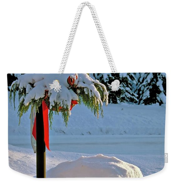 Winter Lamp Post In The Snow With Christmas Bough Weekender Tote Bag