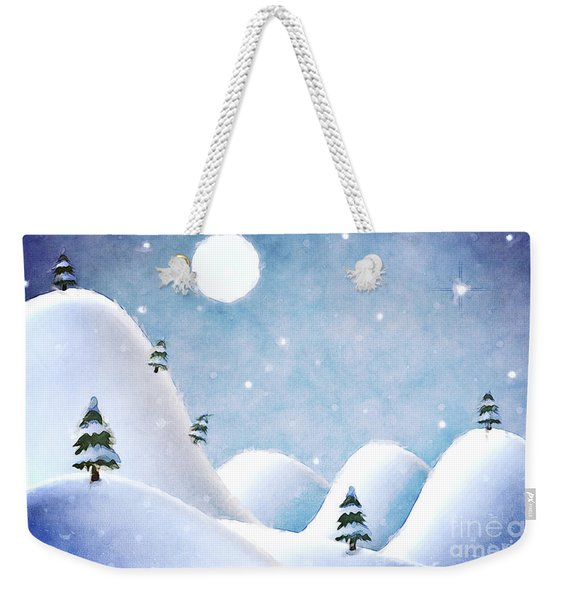 Winter Landscape Under Full Moon Weekender Tote Bag
