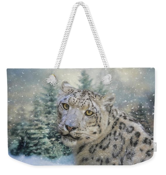 Winter Leopard Weekender Tote Bag