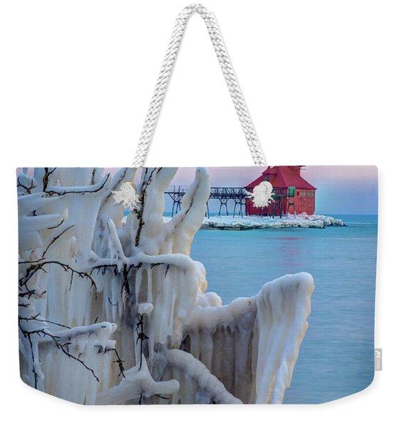 Winter Lighthouse Weekender Tote Bag