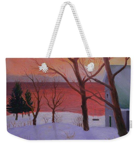 Winter Ocean Sunrise Weekender Tote Bag