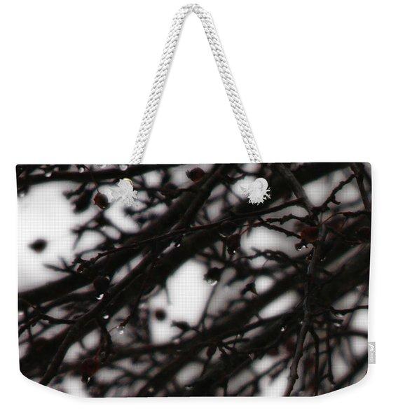 Winter Rain Weekender Tote Bag