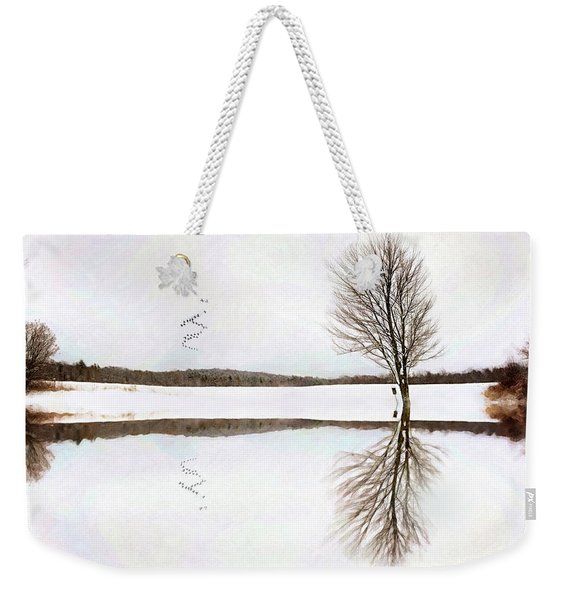 Winter Reflection Weekender Tote Bag