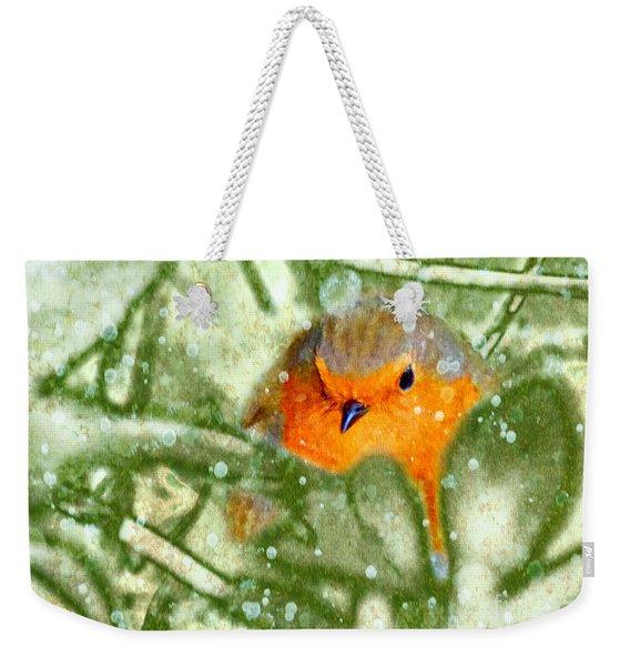 Winter Robin Weekender Tote Bag