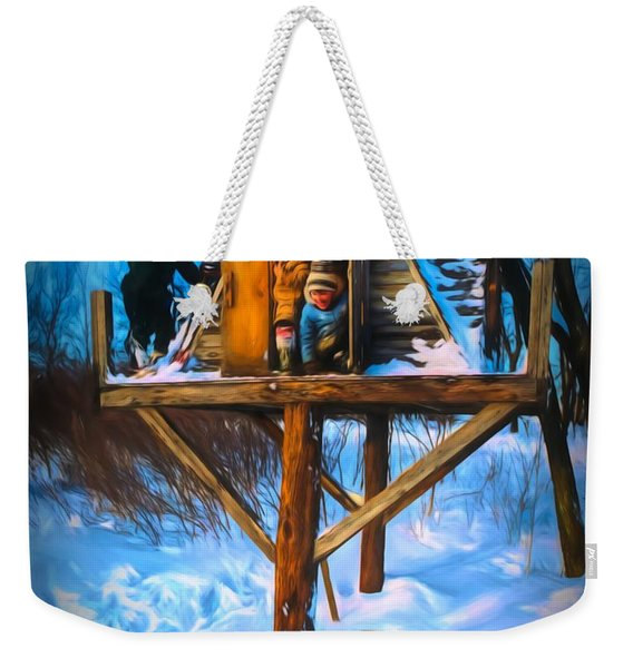 Winter Scene Three Kids And Dog Playing In A Treehouse Weekender Tote Bag