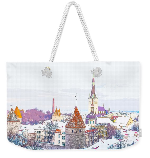 Winter Skyline Of Tallinn Estonia Weekender Tote Bag