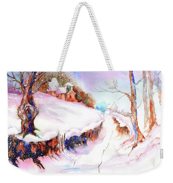 Winter Snow Weekender Tote Bag