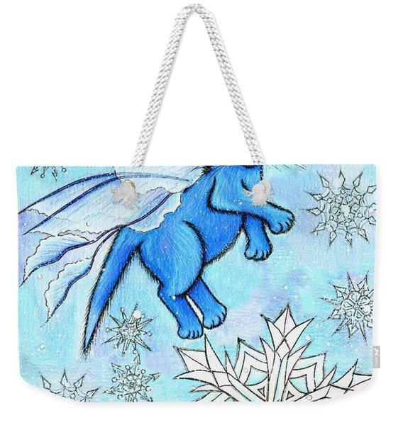 Winter Snowflake Fairy Cat Weekender Tote Bag