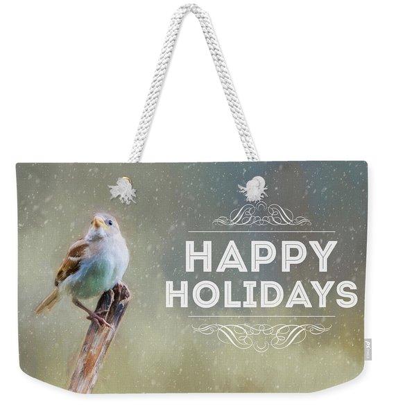 Winter Sparrow Holiday Card Weekender Tote Bag