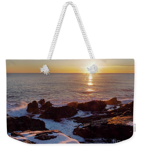 Weekender Tote Bag featuring the photograph Winter Sunrise On The Maine Coast  -20913-20915 by John Bald