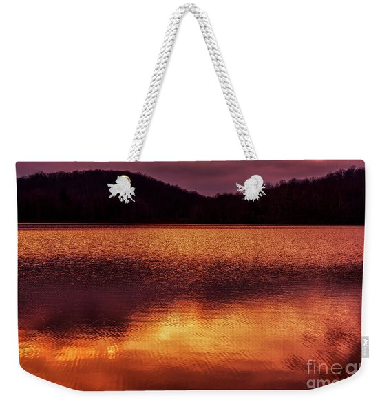 Winter Sunset Afterglow Reflection Weekender Tote Bag
