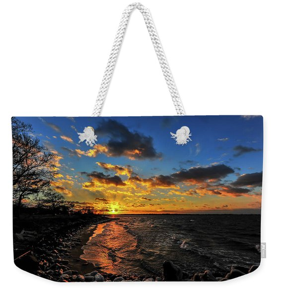 Winter Sunset On A Chesapeake Bay Beach Weekender Tote Bag