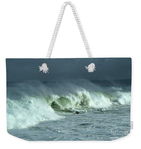 Winter Surf On Monterey Bay Weekender Tote Bag