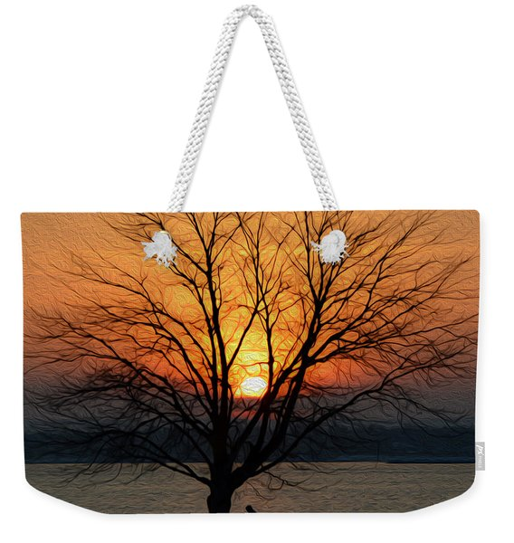 Winter Tree Sunrise Weekender Tote Bag