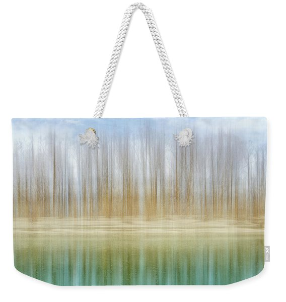 Winter Trees On A River Bank Reflecting Into Water Weekender Tote Bag