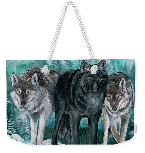 Winter Wolves Weekender Tote Bag