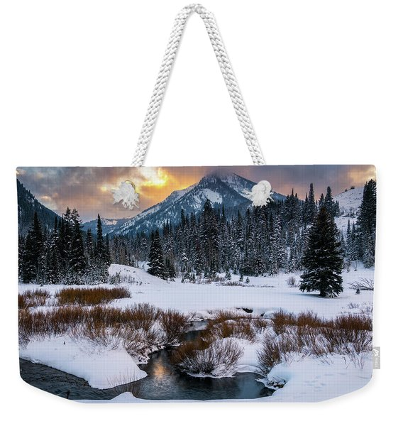 Wintery Wasatch Sunset Weekender Tote Bag