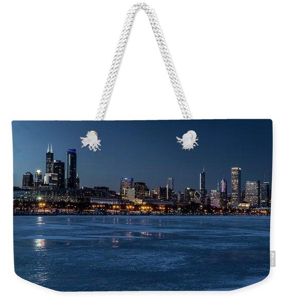 Wintry Chicago Skyline At Dusk  Weekender Tote Bag