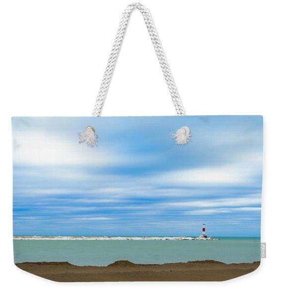 Wisconsin Winter Lakefront Weekender Tote Bag