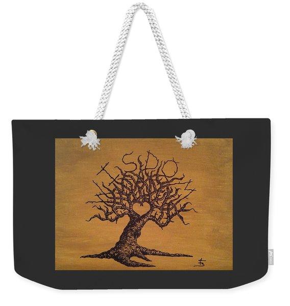 Weekender Tote Bag featuring the drawing Wisdom Love Tree by Aaron Bombalicki
