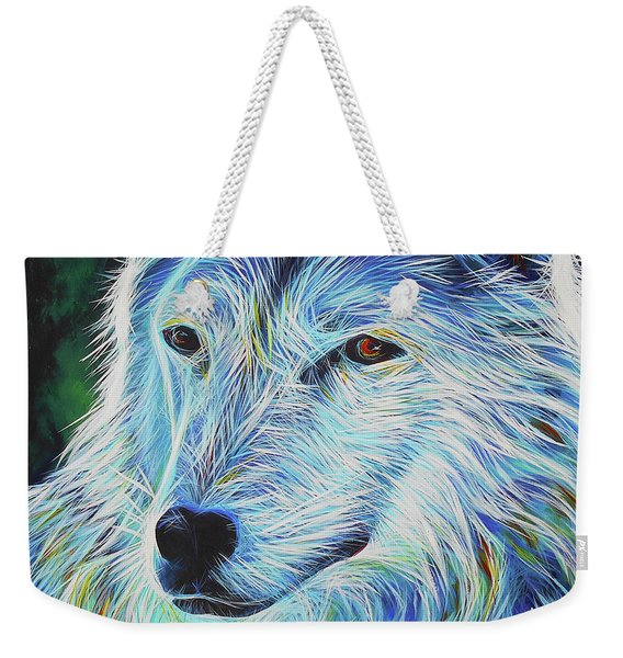 Wise White Wolf Weekender Tote Bag