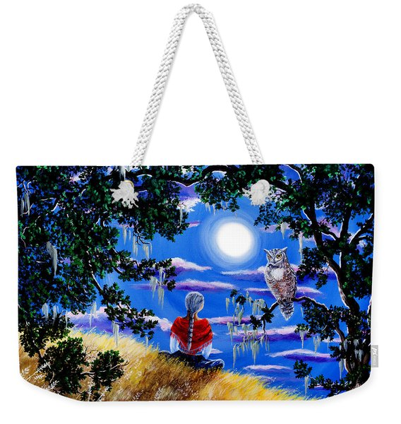 Wise Woman And Owl Full Moon Meditation Weekender Tote Bag