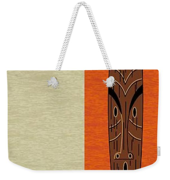 Weekender Tote Bag featuring the digital art Witco Tikis 1 by Donna Mibus
