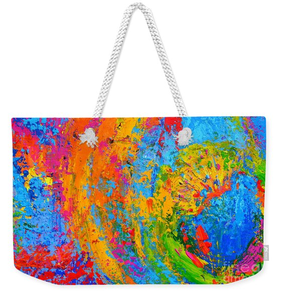 Within Circles 2 - Colorful Modern Abstract  Painting Palette Knife Work Weekender Tote Bag