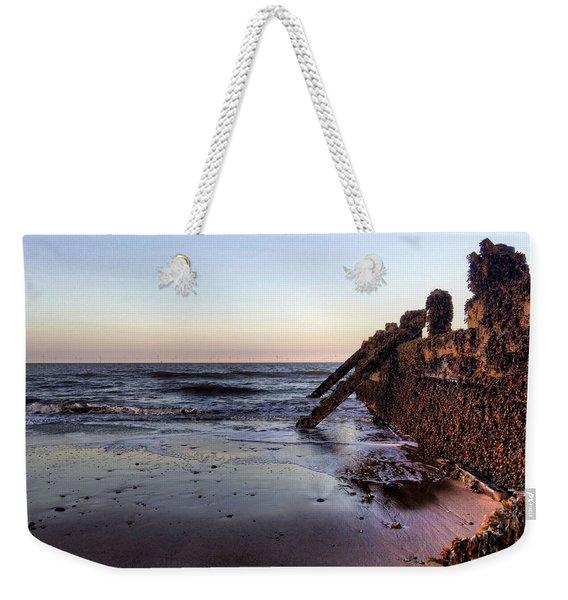 Withernsea Groynes At Sunset Weekender Tote Bag