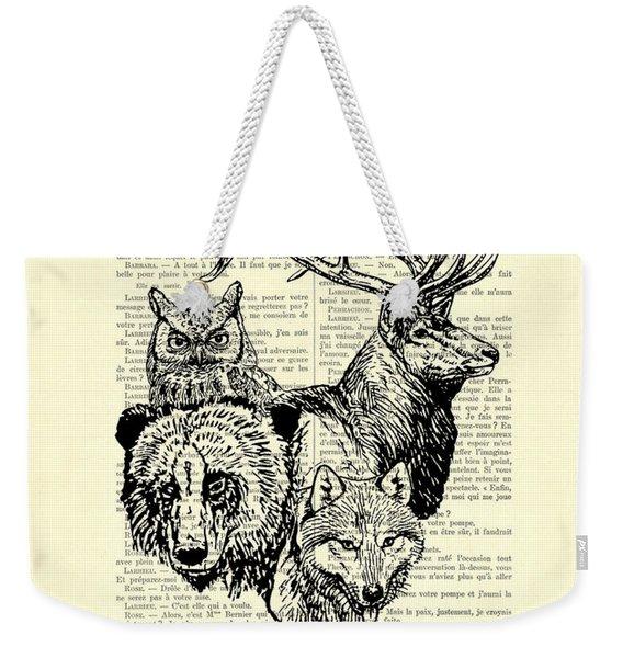 Wolf, Bear, Deer, Owl Wildlife Animals Black And White Weekender Tote Bag